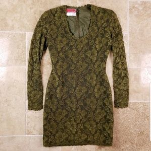 Oscar De La Renta Studio Dress Lace Womens 4 Vtg
